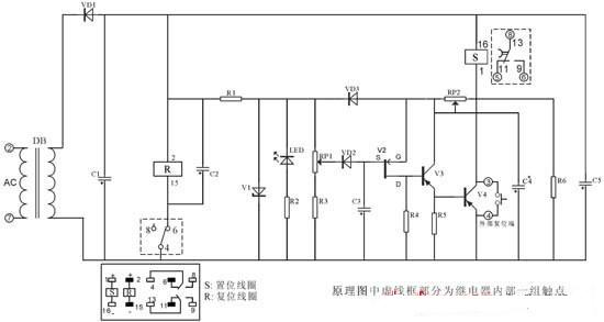 断电延时继电器,是当时间继电器线圈通电时,各延时触头瞬时动作,而线圈断电以后触头呈延时置位工作状态,当所设延时到达后,延时触头又恢复为初始状态。断电延时继电器因其工作状态(在延时过程中不需外接工作电源)以及控制触点在断电延时过程中吸合触点(常开触点变为接通状态应保持接通状态;常闭触点变为断开状态,应呈保持断开状态)转换特殊性(与常规通电延时型时间继电器触点工作状态正好相反)来满足其控制要求。断电延时型时间继电器由最早分离器件构成(延时精度低、延时时间短);现用相应可编程定时集成电路或CMOS计数分频集成来