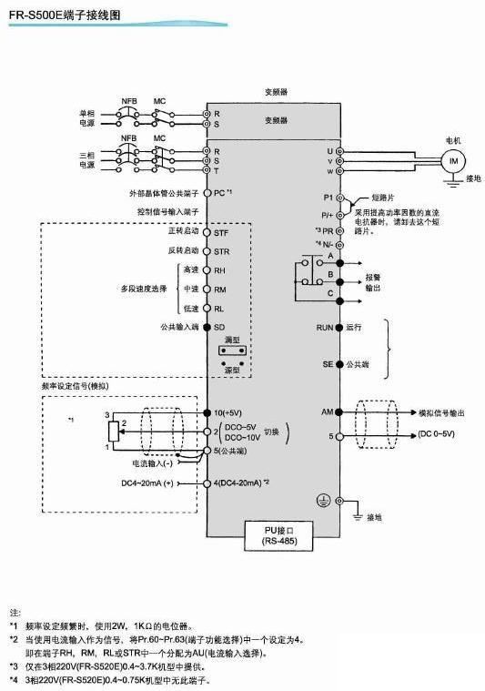 三菱变频器端子接线图